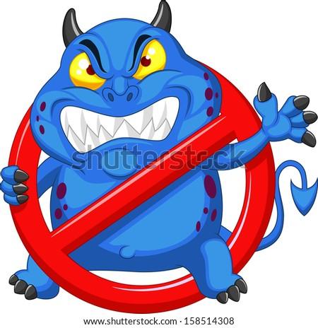 Stop virus - blue virus in red alert sign - stock photo