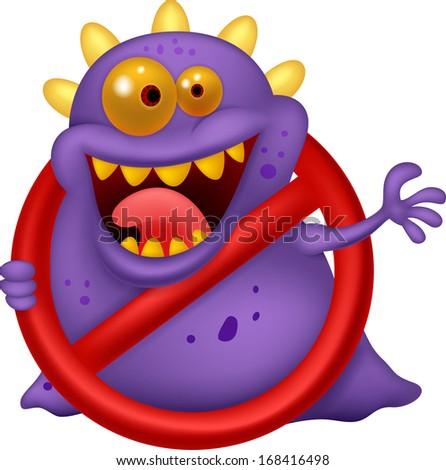 Stop virus - purple virus in red alert sign - stock photo