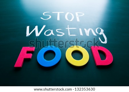 Stop wasting food concept, colorful words on blackboard