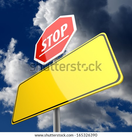 Stop word on Road Sign Red and Blank Space on Road Sign Yellow - stock photo