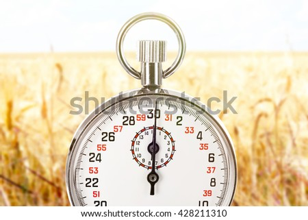 Stopwatch against wheat field background.Time concept - stock photo