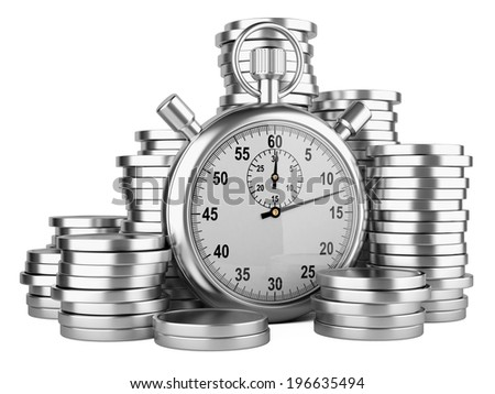 stopwatch and coins - time is money concept. 3d image isolated on a white - stock photo