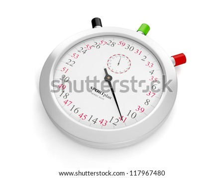 Stopwatch closeup on a white background
