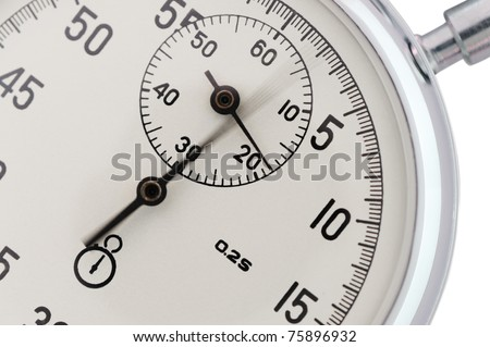 Stopwatch closeup. With a moving arrow. Active