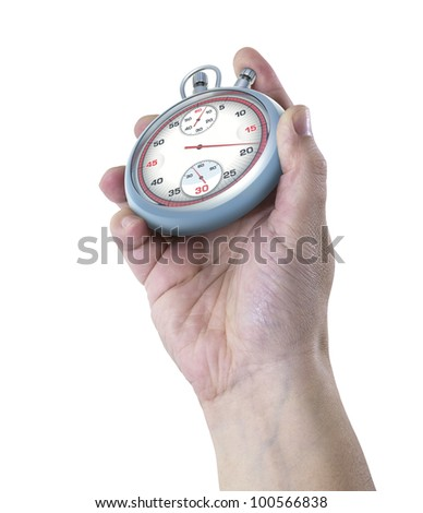 Stopwatch in 3D illustration over the hand's photo. Mixing the real with unreal. - stock photo