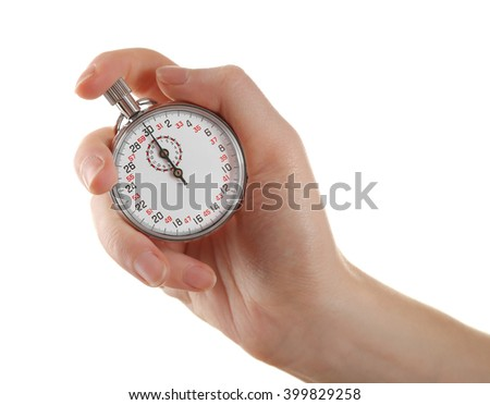 Stopwatch in hand isolated on white, close up - stock photo