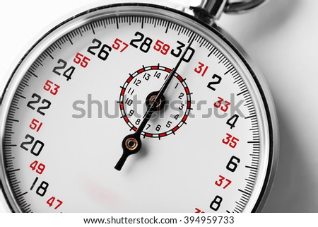 Stopwatch on white background, close up