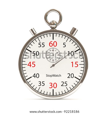 Stopwatch on white background (Hight Resolution 3D Image) - stock photo