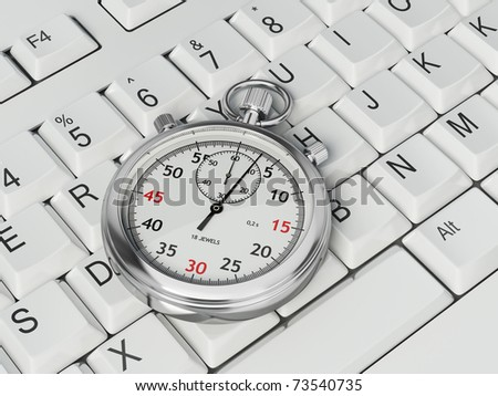 Stopwatch on white computer keyboard - stock photo