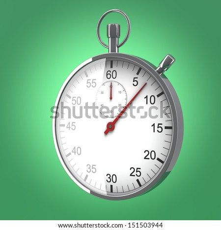 Stopwatch standing on green background