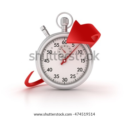 Stopwatch with Arrow on White Background  - High Quality 3D Rendering