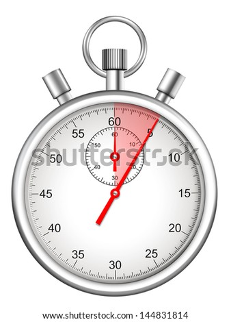 stopwatch with five seconds period highlighted - stock photo
