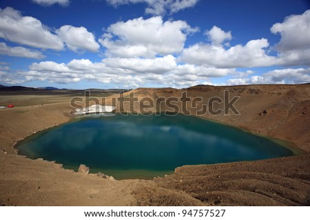 Stora Viti volcanic crater at Krafla near Myvatn in northern Iceland - stock photo