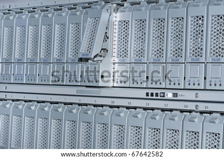 storage area network hard drives library - stock photo