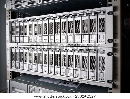 Storage Area Network (SAN) close up