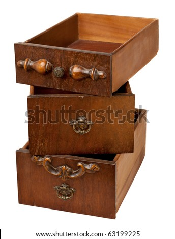 storage concept - a stack of three vintage wooden drawers isolated on white - stock photo