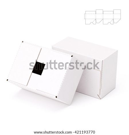 Storage Corrugated Box with Blueprint Template 3D Render Illustration
