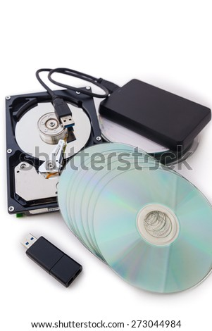Storage device such as Hard Disk drives, External hard drive, USB flash drive  and disk stack with white background. - stock photo