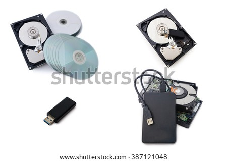 Storage device such as Hard Disk drives, External hard drive, USB flash drive  and disk stack with white background.