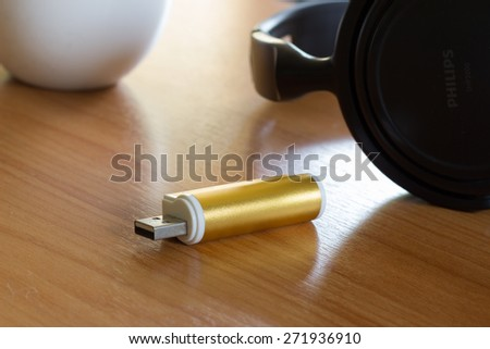 Storage device such as  usb flash drive, external hard drive - stock photo