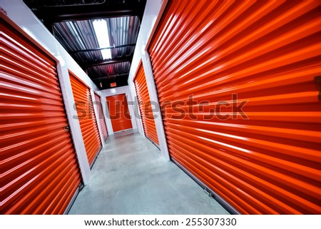Storage doors. Building interior. Storage, industrial, real estate, construction,business and financial concept - stock photo