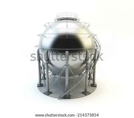 Storage LPG Tank isolated on white background - stock photo