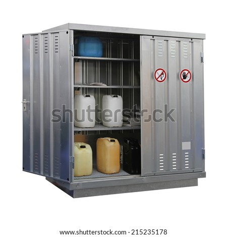 Storage of hazardous and combustible materials locker isolated - stock photo
