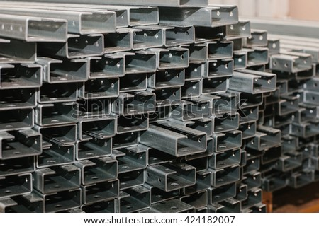Storage of iron and steel materials. the production of iron cabinets factory.