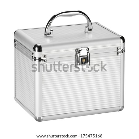 Storage of metallic tin, lockable, mobility metal box for small items, you can use at home or in the office. - stock photo