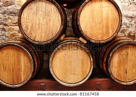 oak wine barrels. storage of oak wine barrels in a cellar
