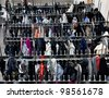 Storage of outerwear in the wardrobe in public place - stock photo