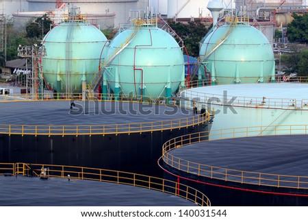 Storage oil tanks in Oil refinery - stock photo