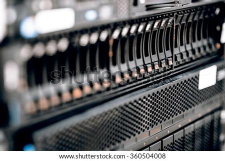 storage or file server. harddisk in server room, IT service - stock photo