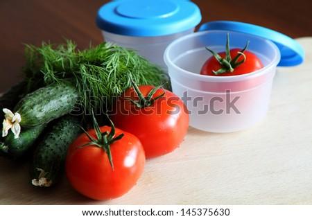 storage plastic containers - stock photo