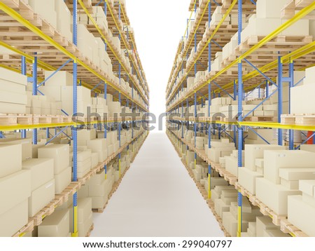 Storage racks with various boxes and merchandise isolated on white