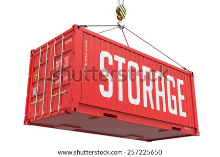 Storage - Red Cargo Container Hoisted by Hook, Isolated on White Background. - stock photo