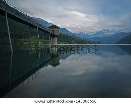 Storage reservoir (Lungernsee/Switzerland) - stock photo