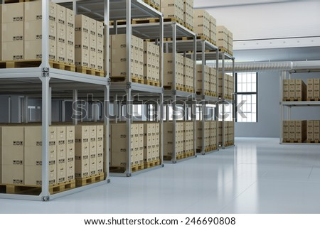 Storage warehouse of a shipping company with many boxes (3D Rendering) - stock photo