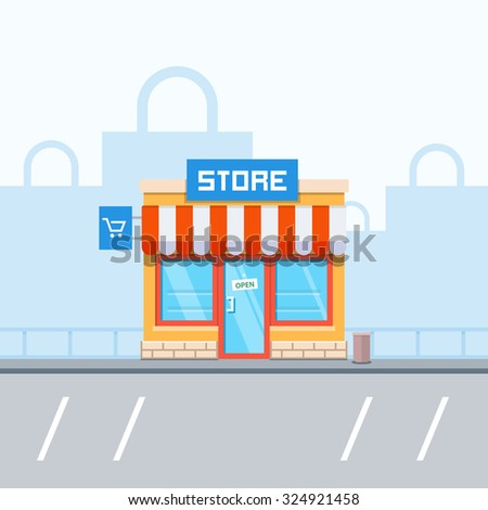 Store facade and bags in the background - stock photo