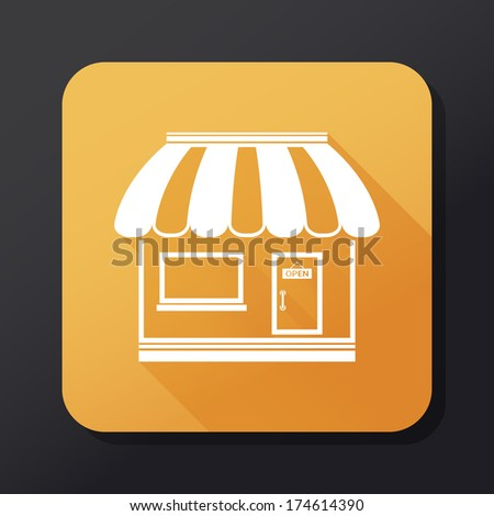 Store flat icon with long shadow - stock photo