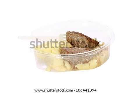 store food potatoes and meat in plastic packaging with clipping path - stock photo