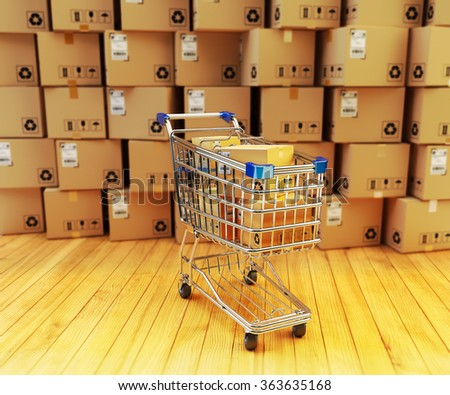 Store or retail interior, buying, commerce and business concept, shopping cart full of purchases and stack of cardboard boxes - stock photo