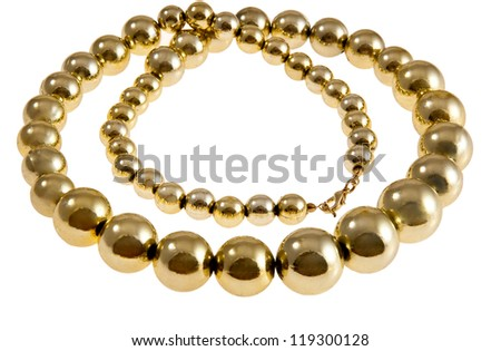 Store showcase of necklace ay jewelry counter - stock photo