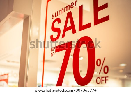 store summer sale sign - stock photo