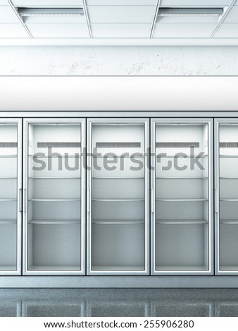 store with an empty fridge. 3d rendering - stock photo