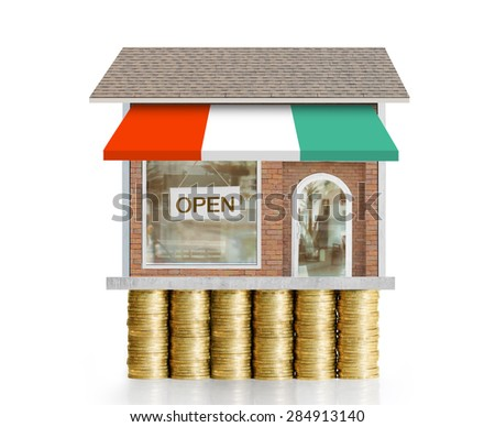 store with business on golden coin  - stock photo