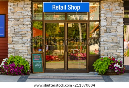 Store with Retail Shop Sign  - stock photo