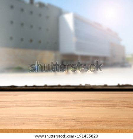 storefront and yellow desk  - stock photo