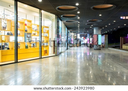 storefront in shopping mall - stock photo