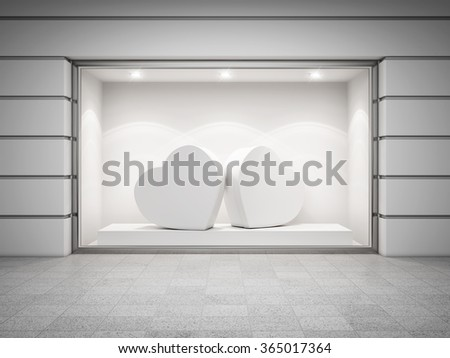 Storefront of shop with gift boxes from heart. 3d rendering. - stock photo